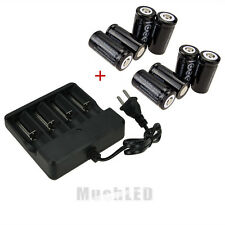 8PCS CR123A 123A CR123 16340 2000Mah Rechargeable Battery BTY Black + UL Charger