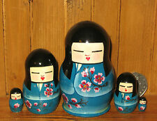Russian small hand painted STACKING doll 5 Japan GEISHA in Kimono SLIGHT SECONDS