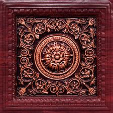 # VC 02 Rosewood / Antique Copper  2' x 2' PVC Decorative Ceiling Tile  Grid