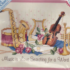 Music Is Love Searching For A Word 8x10 Harp Sax Violin Bugle Cross Stitch Kit