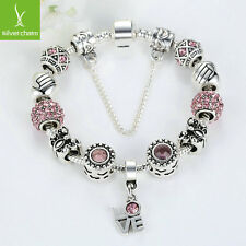 Hot Sales Women Sparkling Pink Crystal Charm Bracelet Fit 925 Silver Jewelry