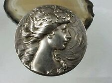 ART NOUVEAU STERLING SILVER LADY HEAD BROOCH PIN 1.5""