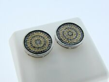 Mens/Ladies  Canary/Black Diamond Stud Earrings 13 Mm