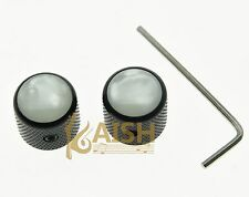 2 pcs With Screw Pearl Top Black Guitar Dome Knobs for Tele Telecaster Bass Knob