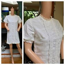 Vintage 60s Lace White Mod GoGo Daisy Flower Power Hippie Boho Mini Dress M