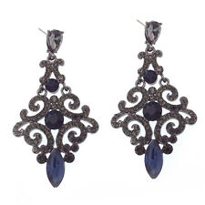 "Floral Dangle Drop Long Earrings Jewelry Black Blue Crystal VTG Design 2.4"" New"