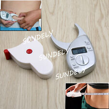 New Digital LCD Body Fat Calipers Skin Fold Fitness Weight Loss Measure UK Stock