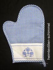 Topflappen Topfhandschuh Ofenhandschuh Küche blau weiß kariert Herz BAYRISCH