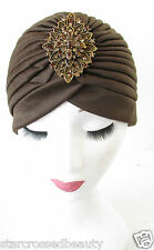 Brown Bronze Rhinestone Turban Cloche Hat Vintage 20s 40s Flapper Headpiece R39