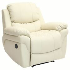 MADISON CREAM REAL LEATHER RECLINER ARMCHAIR SOFA HOME LOUNGE CHAIR RECLINING