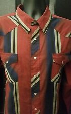Wrangler Western Mens Size 2XL Vertical Striped Shirt Long Sleeve Pearl Snaps