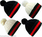 New Men's Bobble Hat Woolly Designer Winter Beanie Stripped Cable Rope Knit Cap