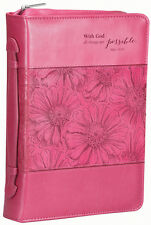 With God, All Things Are Possible, Bible Cover, Pink Floral, Medium