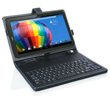 Universal Tablet Case with Full Keyboard Black PU Leather for 7in Tablet Phablet