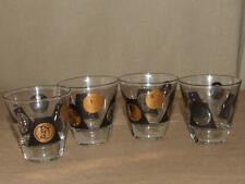4 VTG 60s Mid Century MADMEN Era Black & Gold Coin Shot Drinking Glass Set 3""
