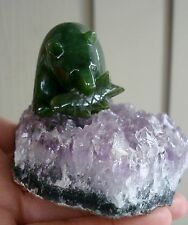 "Lovely Carved Canadian Jade Bear in the  Amethyst Forest 2"" Bear"