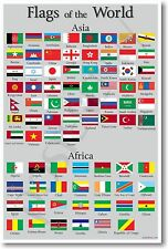 Flags of the World - Asia & Africa - NEW World Travel Geography POSTER