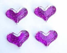 Hot Pink Glitter Heart 38mm Pendant for Chunky Necklace 4ct Beads