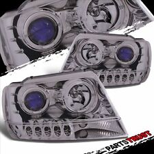 1999-2004 Jeep Grand Cherokee Chrome LED Halo Projector Headlights Pair