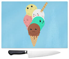 Kawaii Icecream Scoops Art Print Large Glass Chopping Cutting Board Japan Cute
