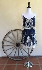 ARK & CO Cute Navy Blue Boho Dress White Floral Embroidered Eyelet Lace M - NWT