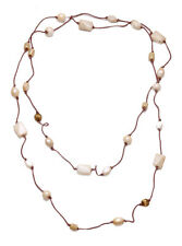 SUPER LONG SHELL NECKLACE MOTHER OF PEARL BEADING, ULTRA LONG (ZX54)