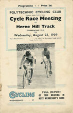 CATFORD & POLYTECHNIC CC TRACK CYCLE RACE MEETING 23 Aug 1939 PROGRAMME