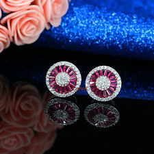 CZ Stud Earrings halo cubic zirconia with simulated ruby sapphire emerald gift