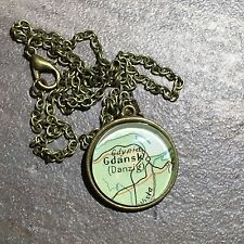 ELBLAG LEBA GDYNIA GDANSK DANZIG POLAND Map Pendant Bronze necklace ATLAS f04