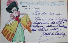 Original Art 1910 French Hand Drawn/Painted Postcard: Woman & Music Notes