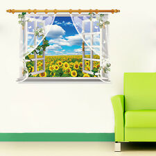 3D Window Landscape Sunflower Wall Stickers,Wall Decals SK_FUYU_A