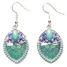 Lavish Aqua Blue Topaz Diamante/transparent Enamel Swirl Droplet Earrings(Ns12)