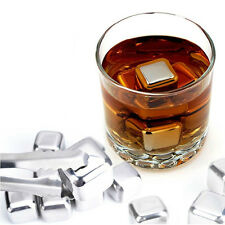 2 Pcs NEW Stainless Steel Whiskey Stones Rock Ice Cubes Soapstone Drink Freezer