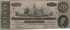 1864 $20 Confederate States of America Bank Note Lot 598