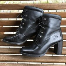 Timberland Black Leather Grunge Ankle Combat Boots High Heel Womens 9M Lace Up F