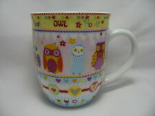 Pastel Owls Coffee Mug Cup Creative Tops 14 oz Multi Color Hearts Flowers New
