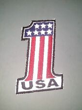 "(P) REFLECTIVE USA AMERICAN FLAG #1 - 2"" x 3"" iron on patch (3451)"