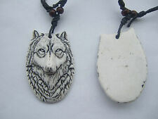 12pcs White Yak Bone Powder Resin Wolf Face Head Pendant Necklace