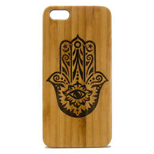 Hamsa Case for iPhone 7 Bamboo Wood Cover Hand of Fatima Symbol Protection Eye