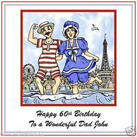 Mens Handmade Personalised Birthday Card Seaside Holiday ANY AGE Son Brother Dad