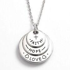 """TOC Fede """"Love"""" Hope Triplo Disco Color argento Collana Con Ciondolo 18""""+ 5.1cm"""