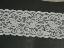 White Stretch Lace Trimming Fabric Scalloped elastic trim designer 2Yard x2 1/2""