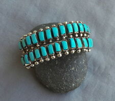 New Signed Navajo Sterling Silver 2 Row Rectangular Turquoise Cuff Bracelet