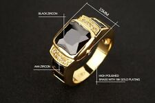 Men's Stylish 18k Gold & Black Zircon Diamond Wedding Ring Fashion Size 10 T 1/2
