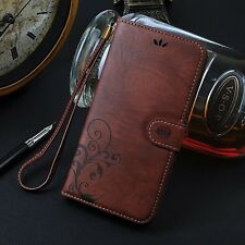 """Brown Retro Leather Skin Wallet Cover Case For Apple iPhone 6 Plus 5.5"""" Phone"""