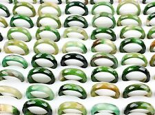 50pcs Green Natural Faceted Agate Gemstone Jade Rings Wholesale Fashion Lots