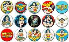 "WONDER WOMAN - Lot of 15 - Pin Back - 1"" Buttons Badges (One Inch) – Set"