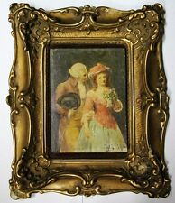 Stunning antique miniature oil on panel romantic scene 14 x 10 cm Signed
