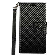 For ZTE ZMAX PRO / CARRY PU Leather Pouch Case Cover BLACK CARBON FIBER WALLET E