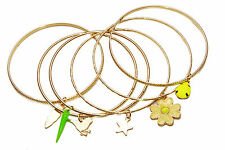 SET OF 6 THIN GOLD TONE BANGLES YELLOW/GREEN CHARMS BIRD STAR FLOWER (CL26)